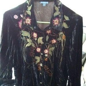 J.Jill Dark Brown, embroidered top med.